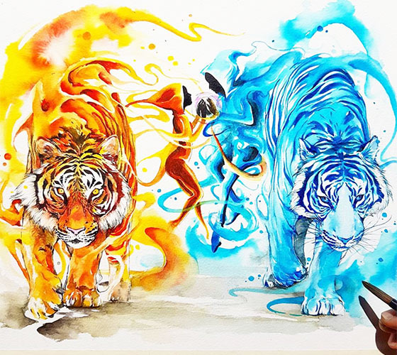 Fire and Ice watercolor painting by Art Jongkie