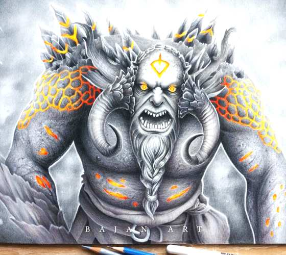Troll, drawing by Bajan Art