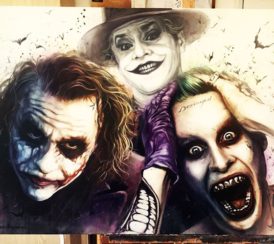 A bunch of Clowns painting by Ben Jeffery