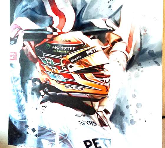 Lewis Hamilton oil painting by Ben Jeffery