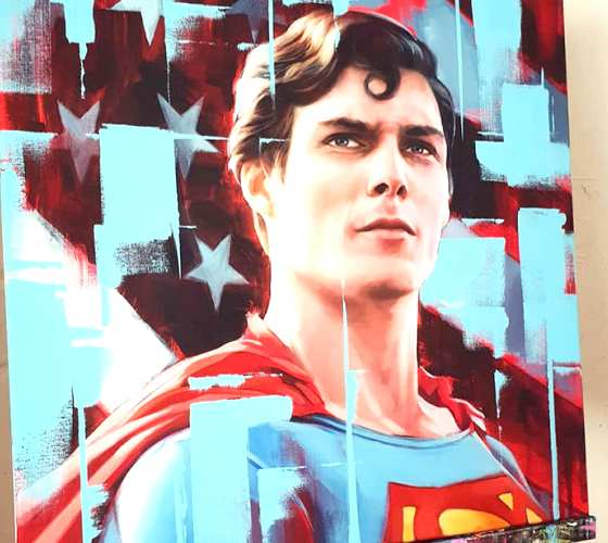 Superman oil painting by Ben Jeffery