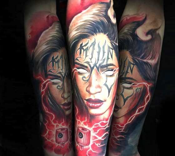 Girl Face tattoo by Benjamin Laukis