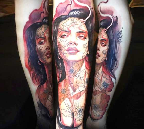 Woman tattoo by Benjamin Laukis