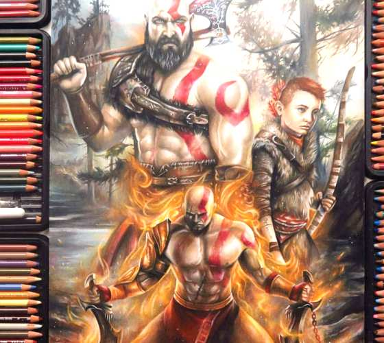 God of War drawing by Blondynki Tez Graja