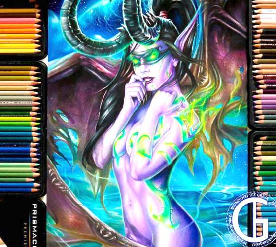 Illidan female color drawing by Blondynki Tez Graja