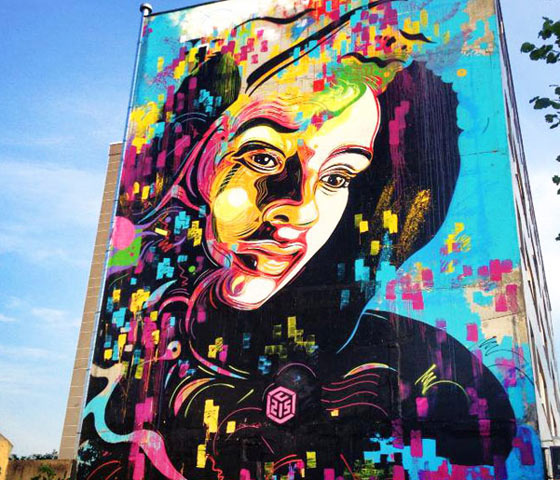 Mural abstract work by C215