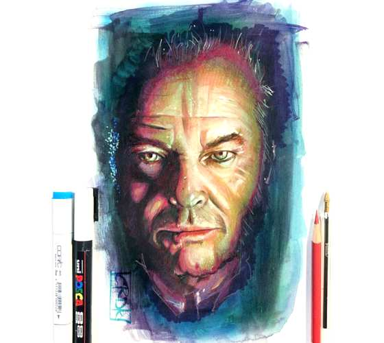 Jack Nicholson pencil drawing by Craig Deakes