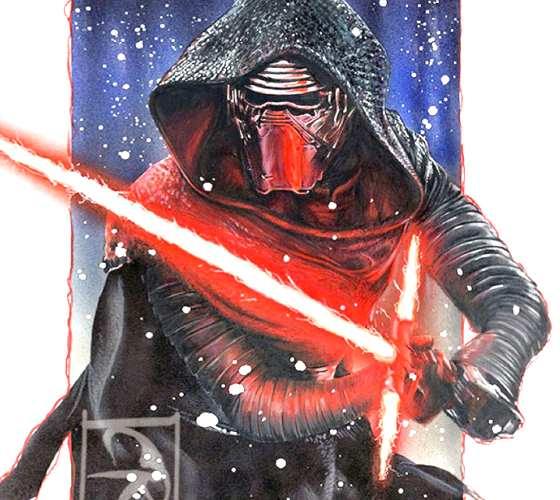 Kylo Ren color drawing by Craig Deakes