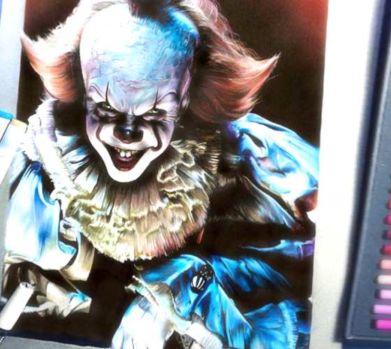 Pennywise pencil drawing by Craig Deakes