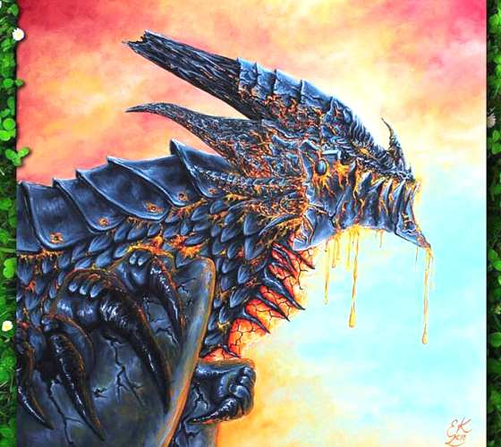 Deathwing the Destroyer, oil painting by Elienka Art