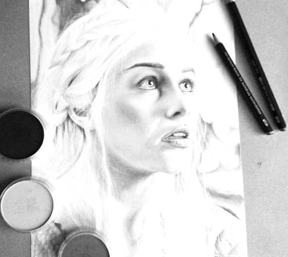 Daenerys Targaryen pencil drawing by Gina Friderici