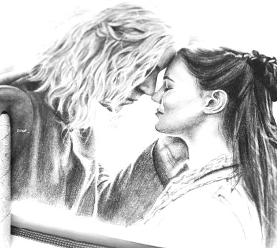 Lyanna and Rhaegar drawing by Gina Friderici
