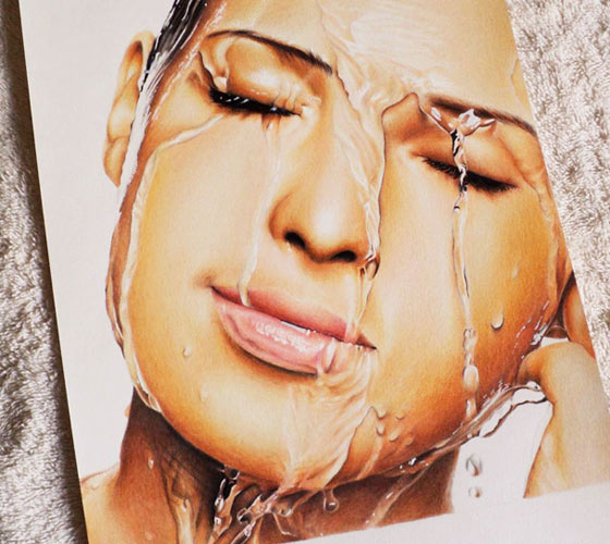 Water on face drawing by Guilherme Silveira