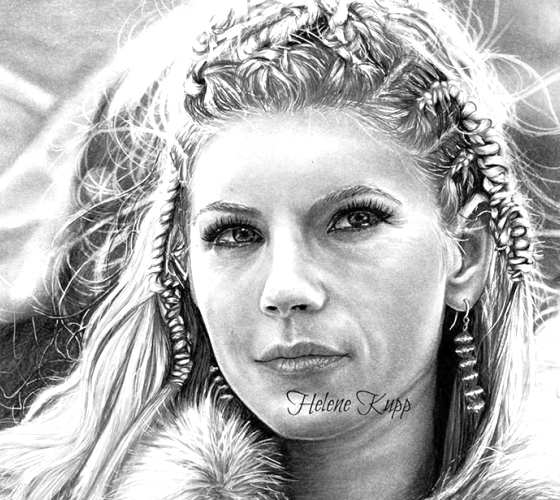 Lagertha pencil drawing by Helene Kupp