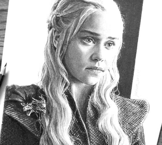 Daenerys Stormborn pencil drawing by Janko Maslovaric