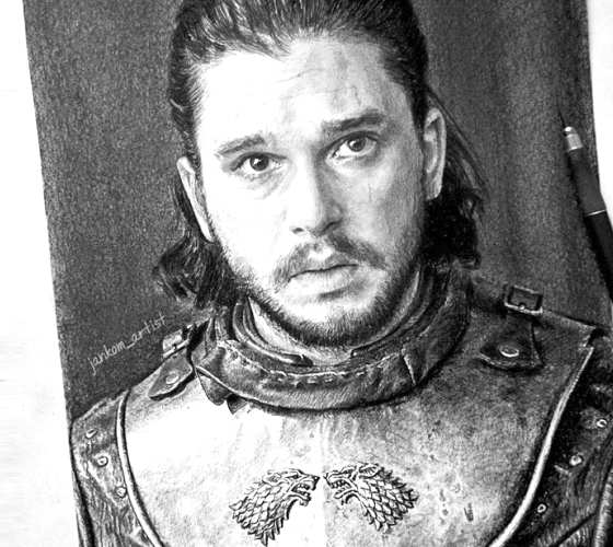 Jon Snow pencil drawing by Janko Maslovaric