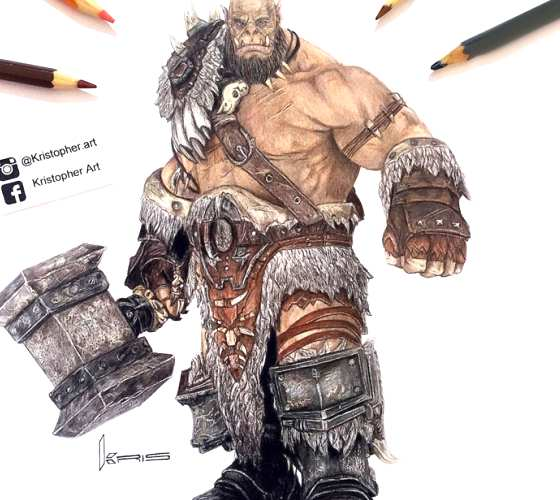 Orgrim Doomhammer pencil drawing by Kristopher Lambertin