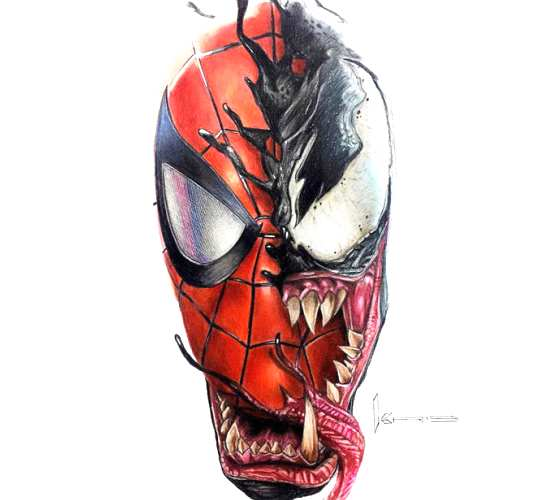 Spider man and Venom pencil drawing by Kristopher Lambertin