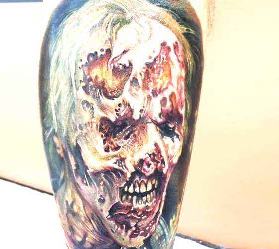 Zombie tattoo by Paul Acker