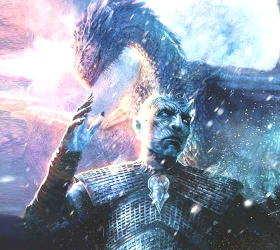 Night King and Viserion illustration by Rudy Nurdiawan