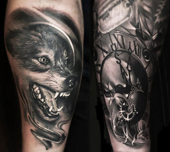 Wolf and Time tattoo by Sergey Shanko