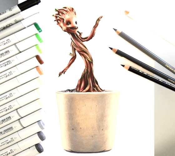 Baby Groot drawing by Stephen Ward