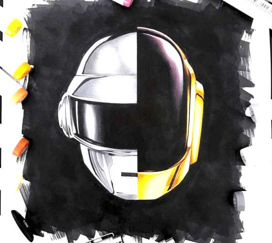 Daft Punk drawing by Stephen Ward