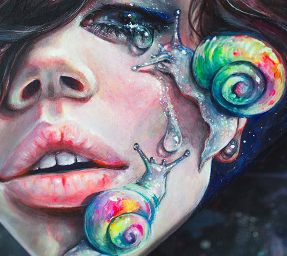 Thirsty snails, painting by Tanya Shatseva