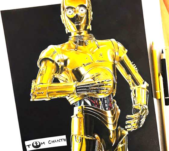 C 3PO, drawing by Tom Chanth Art
