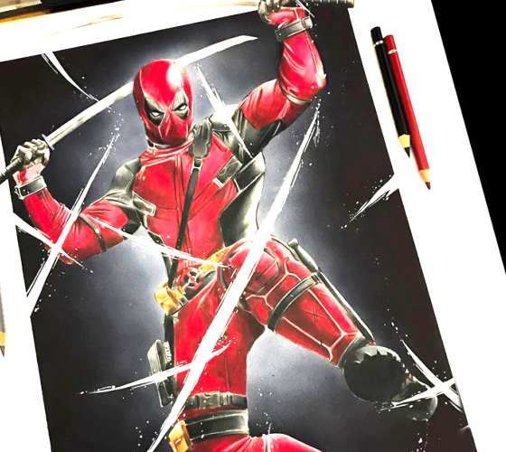 Deadpool drawing by Tom Chanth Art