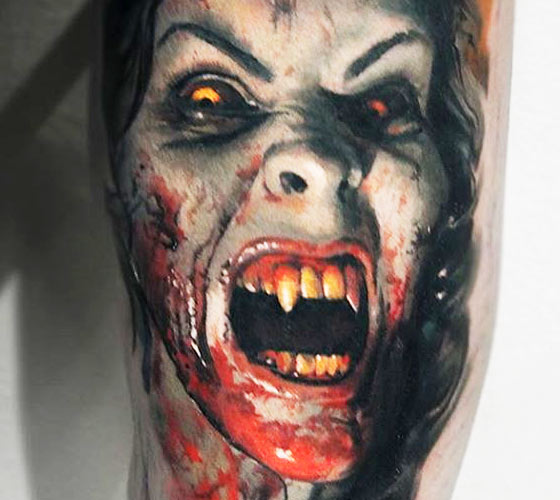 Scary Vampire tattoo by Valentina Ryabova