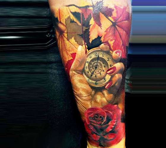 Autumn color tattoo by Zsofia Belteczky
