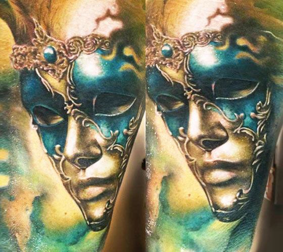 Green Mask tattoo by Zsofia Belteczky