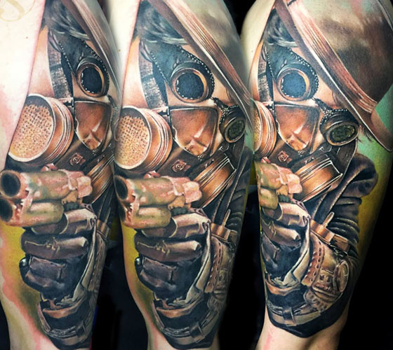 Gun Man with mask tattoo by Zsofia Belteczky