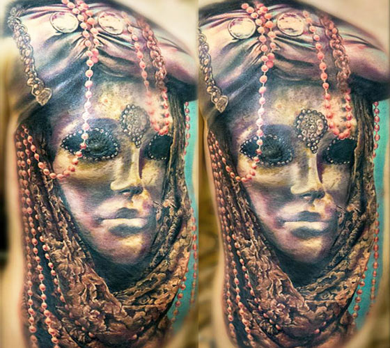 Woman mask tattoo by Zsofia Belteczky